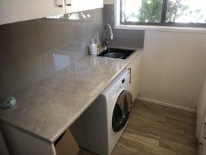 Laundry Renovation Plumbing sink Washing machine installation